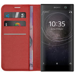 Leather Wallet & Card Slot Holder Case for Sony Xperia XA2 - Red